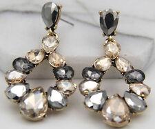 Long Ear Stud Hoop earrings 258 Woman's Multi Crystal Rhinestone Silver Plated