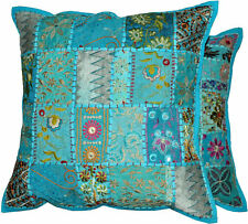 2pc Blue Indian Bohemian Pillow Patchwork Pillows Decorative Vintage Cushions