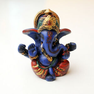 """Blue Four Armed Baby Ganesh Resin Statue 2.5"""""""