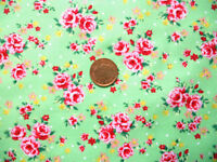 GREEN FABRIC WITH A DESIGN OF SMALL PINK ROSES - COTTON FQ's