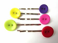 1 x Pair of 15mm Button Silver Plated Hair Slides. Brand New - 5 Colour Choice!