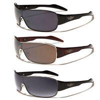 Oxigen Metal Rim Shield Lens Large Mens Aviator Sunglasses Black Brown Silver