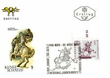 AUSTRIA 22 MARCH 1971 ART RIDER STATUE FIRST DAY COVER SHS