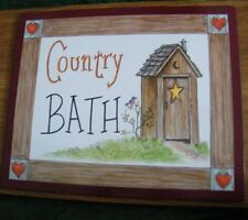 """9x11"""" Country Bath Primitive Outhouse Bath Bathroom Wall Art Decor Picture Sign"""