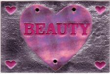 """4"""" x 6"""" Large Silver Rectangle Pink Heart Beauty Patch"""