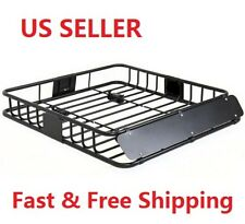 A21 New Black Steel Basket Carrier Roof Rack Car Top Cargo Storage Luggage SUV