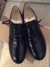 Orla Kiely Clarks, stile retrò, vintage, Agatha Nero Scarpe Di Pelle, Taglia 5.5, EUR 39
