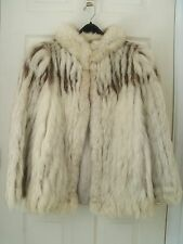 Pana'che FOX FUR Silver White Gray JACKET Short Coat. Size  Medium  F17