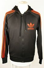 """adidas Mens Black & Red Hooded Tracksuit Jacket Top Sz S Chest 40"""""""