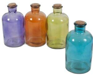 Set Of 8 XL Round Glass Bottles & Cork Assorted Colours Liquor Bottle 1000ml