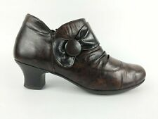 Rieker Brown Leather Mid Heel Ankle Boots Uk 6 Eu 39