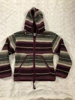Laundromat Wool Cardigan Sweater Jacket Womens SMALL Hooded Striped Zip purple