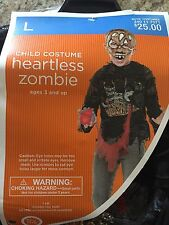 Heartless Zombie Black Boys Kids Top Shirt Zombies Size Large 10-12 Halloween