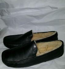 NIB AUTHENTIC! Men's Ascot Slippers Black Leather Size 18