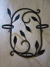 "Wall Mount~Wrought Iron~Leaves/Swirls Plant Holder~25""L x 18""W x 6.5""D~3 Pot 4.5"