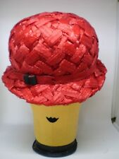 Vintage RED  Mr. John straw hat cloche style with ribbon trim