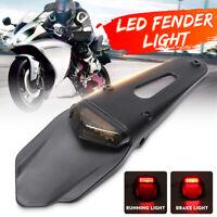Universal Motorcycle Enduro Trial Dirt Bike Fender LED Stop Rear Tail Light  /