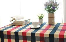 Mediterranean Plaid Cotton Table Cloth Fresh Leaf Flower Home Hotel Table Cloth