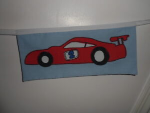 Vehicles boy toddler blue Fabric party/play Bedding Bunting 7 flag wall hanging