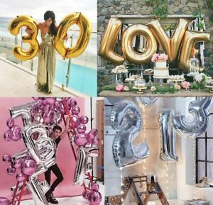 40 Inch Gold & Silver Foil Balloons Letter & Number Design Party Decoration