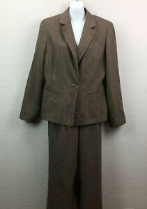 Charter Club Women's Brown Beige Neutral Pant Suit Set Jacket Coat Office 12