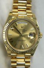 UNWORN ROLEX DAY-DATE 40MM PRESIDENT, YELLOW GOLD WATCH 228238, GOLD ROMAN DIAL