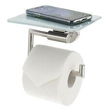 bremermann Toilettenpapierhalter mit Glasablage 2in1, weiß, Edelstahl, für Handy