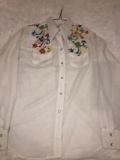 Vintage Rockmount Ranch Wear Long Sleeve Shirt SZ 34 M Embroidered Pearl Snaps