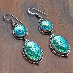 "Rainbow Fish Titanium Handmade Drop Dangle Earrings Jewelry 2.2"" AE 21758"