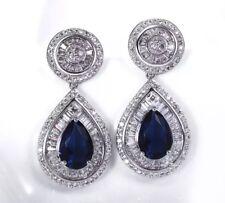 18k White Gold Earrings made w Swarovski Sapphire Blue Stone Quality Jewelry