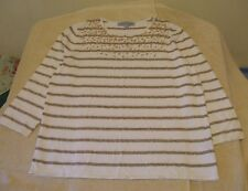 Samantha Grey Size M Pullover Light Beige & Gold Striped Sweater, 3/4 sleeves