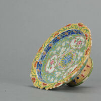 Antique 19C Qing period Chinese Porcelain Bencharong Tazza Thailand Chin...