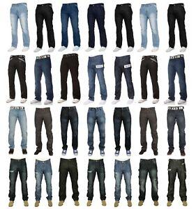 Enzo Mens Designer Straight Fit Regular Leg Denim Jeans Casual Work Pants 28-48