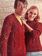 FU23 - Vintage Knitting Pattern - Unisex Aran Mens & Lady's Jumper