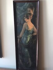 art print~POMPEIAN BEAUTY~Victorian Tall Lady with Dog vtg repro Blenner 10x28.5