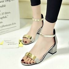 Khoee AW0129 Open Toe Ankle Strap Back Zipper Thick High Heel Sandals (grey)