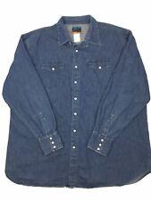 Black Canyon Colorado Mens 3XL? Blue Denim Long Sleeve Pearl Snap Shirt (A2