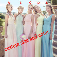 Long Chiffon Convertible Bridesmaid Formal Gown Party Ball Prom Dress Size 6-22
