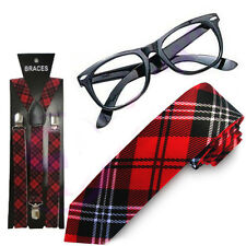 ADULT NERD GEEK SQUAD FANCY DRESS RED TARTAN Long TIE GLASSES WITH BRACES