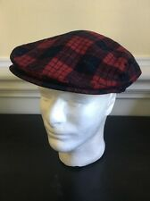 Vintage Plaid Pendleton Newsboy Cap Red Plaid Hat Size Medium Tartan