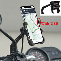 Motorcycle Handlebar Mirror CNC Phone Holder Mount Bracket W/ USB Charger Black