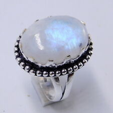 Rainbow Moonstone 925 Sterling Silver Plated Handmade Jewellery Ring UK Size-P