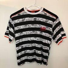 Men's Sz 2XL T Shirt Black White stripes Tiger graphics ASK DNM Attitude Street