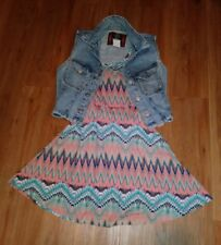 Coral Tribal Print Dress and Retro 80's Denim Vest Lot of 2 Size Small c2