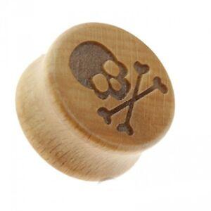 "PAIR-Wood w/Skull Pirate Saddle Flare Ear Plugs 19mm/3/4"" Gauge Body Jewelry"