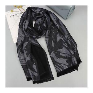 100% Merino Wool Men Pashmina Large Long Scarf Shawl Dark Grey Black Winter Gift