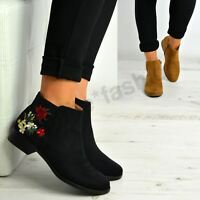 New Womens Ladies Side Zip Floral Boots Low Heels Shoes Size Uk 3-8