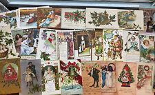 Vtg Christmas Postcard Lot Embossed Santa Holly Tuck's USA & Germany