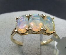1.39 cts Genuine Ethiopian Opal Trilogy Size 7 Ring 10k Yellow Gold