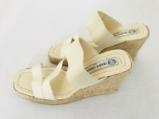 Andre Assous Espadrille Sandals Size 7 Beige Strappy Wedge Open Toes Slide Shoe